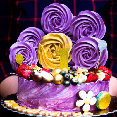 Narozeninový dětský dort fialový