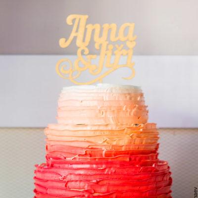 Svatební barevný dort