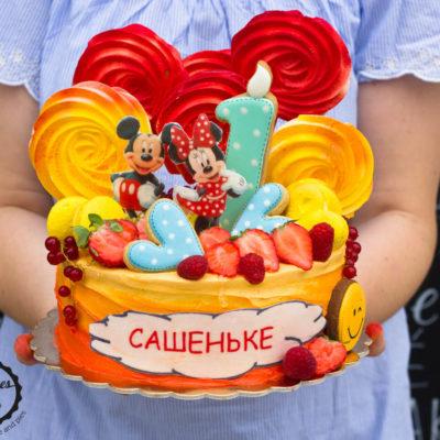 Narozeninový dort «Mickey Mouse 3» (2 kg, 1450 kč)