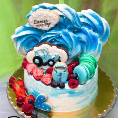 Dětský dort na objednávku Modrý traktor 2