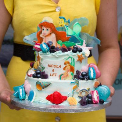 Dvoupatrový dětský dort na narozeniny Ariel 2