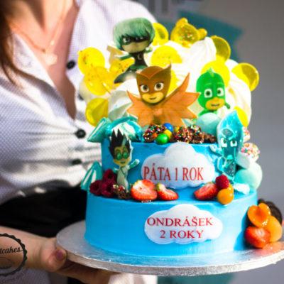 Dvoupatrový dětský dort na narozeniny Pyžamasky