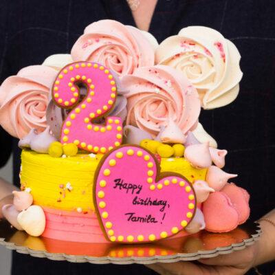 Dětský narozeninový dort Růžové srdce