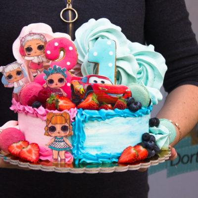 Dětský dort na narozeniny Dvojčata 4 (2 kg, 1450 kč)
