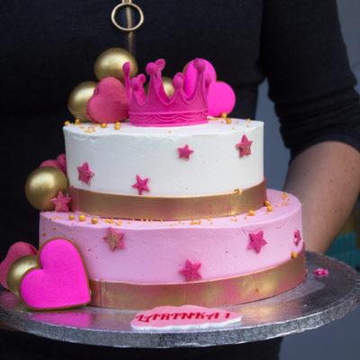 Dvoupatrový dětský dort na narozeniny Princezna 5