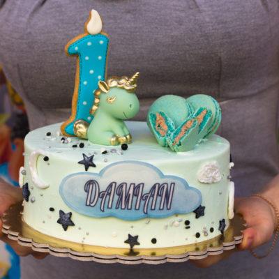 Dětský narozeninový dort Modrý jednorožec