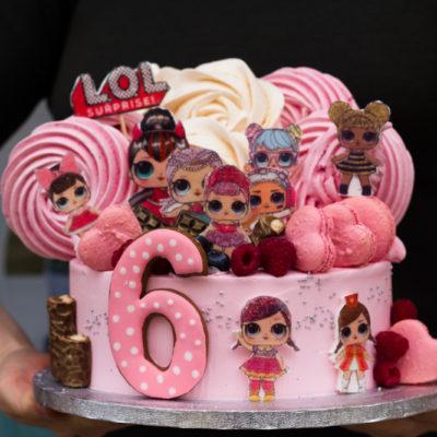 Dětský narozeninový dort LOL 19 (2,5 kg, 1700 kč)