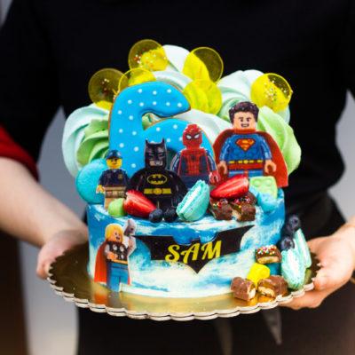 Dětský narozeninový dort Lego Superhrdinové