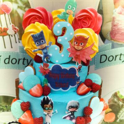 Dětský narozeninový dort Pyžamasky 3