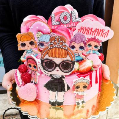 Dětský narozeninový dort LOL 27 (1,5 kg, 1200 kč)