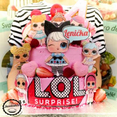 Dětský narozeninový dort LOL 24 (4 kg, 2500 kč)