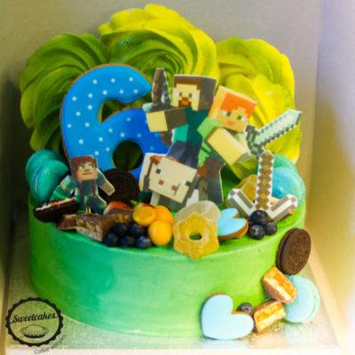 Dětský dort na objednávku Minecraft 13 (3 kg, 1950 kč)