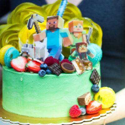Dětský narozeninový dort Minecraft 12 (1,5 kg, 1200 kč)