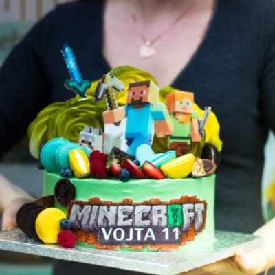 Dětský narozeninový dort Minecraft 11 (3 kg, 1950 kč)