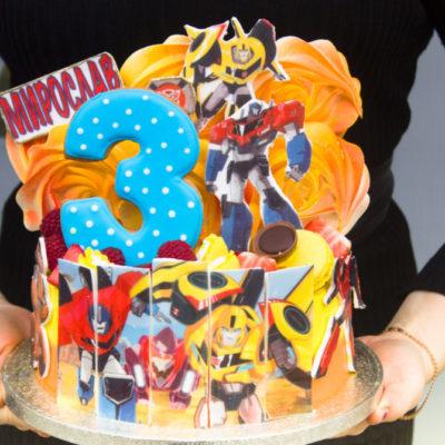 Dětský narozeninový dort Transformers 3