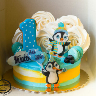 Dětský narozeninový dort Tučňák