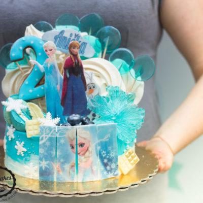 Dětský narozeninový dort Frozen 14 (2 kg, 1450 kč)