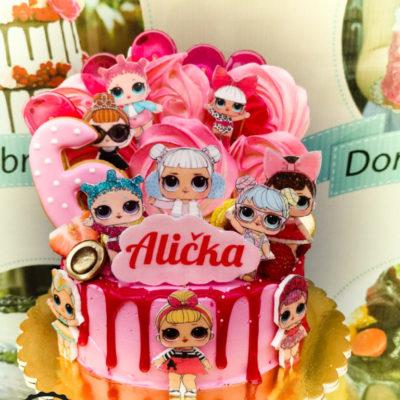 Dětský narozeninový dort LOL 29 (1,5 kg, 1200 kč)