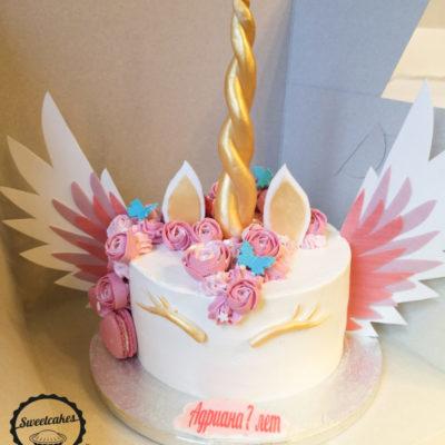 Dětský narozeninový dort Jednorožec 16 (2 kg, 1450 kč)