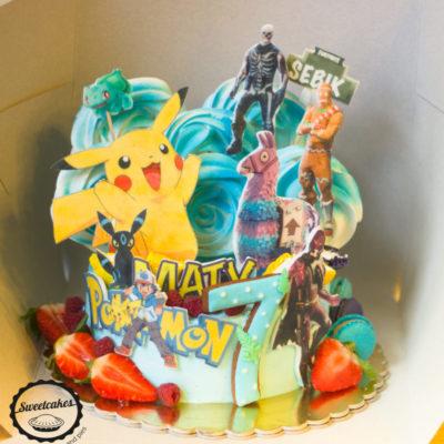 Dětský dort na narozeniny Pokemon Fortnite (2 kg, 1450 kč)