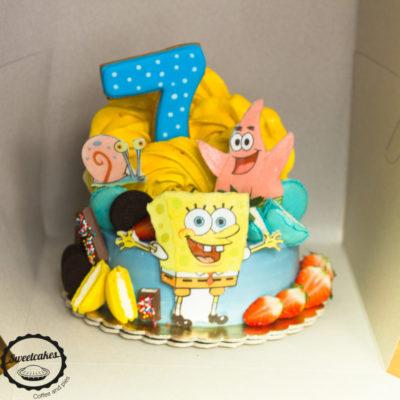 Dětský narozeninový dort Sponge Bob (2 kg, 1450 kč)