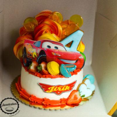 Dětský narozeninový dort pro kluka Autíčka 7 (1,5 kg, 1200 kč)