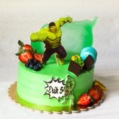 Dětský narozeninový dort na zákazku Hulk 6 (2 kg 1450 kč)