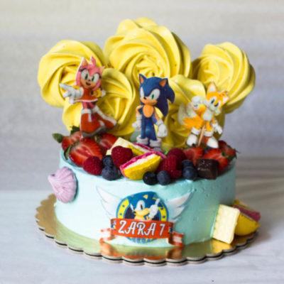 Narozeninový dort «Sonic the hedgehog» 2 (2 kg 1450 kč)