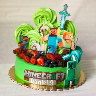 Dětský narozeninový dort na zákazku Minecraft 17 (2,5 kg 1700 kč)