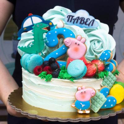 Dětský narozeninový dort na zákazku Peppa Pig 5 (2 kg 1450 kč)
