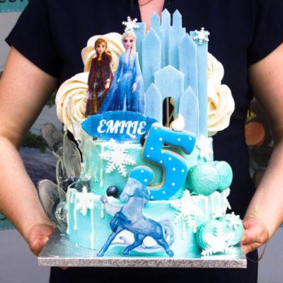 Dětský narozeninový dort na zákazku Frozen 20 (4 kg, 2500 kč)