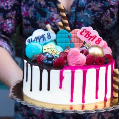 Dětský narozeninový dort na zákazku Dvojčata 5 (2,5 kg, 1700 kč)