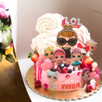 Dětský narozeninový dort LOL 32 (2 kg, 1450 kč)