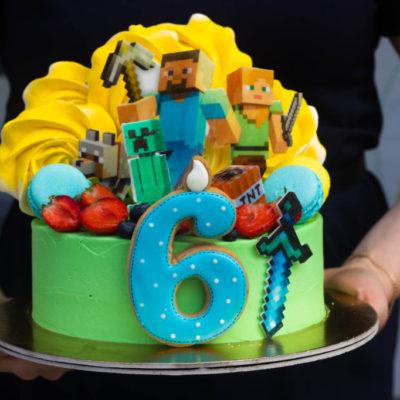 Dětský narozeninový dort Minecraft 16 (2 kg, 1450 kč)