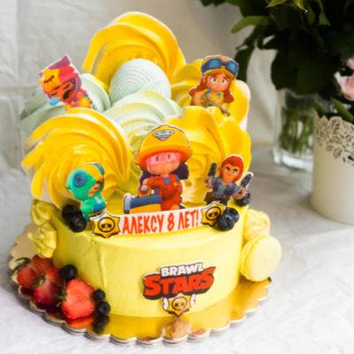 Dětský narozeninový dort na zákazku Brawl Stars 2 (2 kg, 1450 kč)