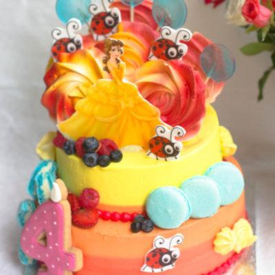 Dětský narozeninový dort na zákazku Belle (4 kg, 2500 kč)