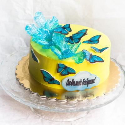Narozeninový dort Modré motýlky 3