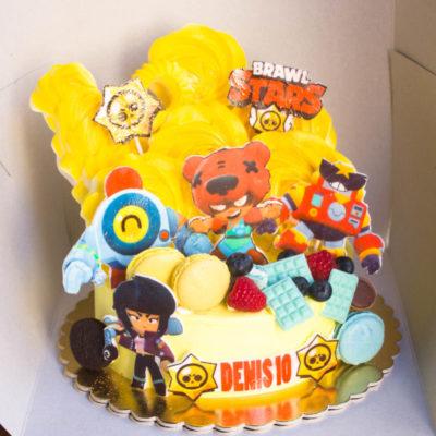 Dětský narozeninový dort na zákazku Brawl Stars 3 (2 kg, 1450 kč)