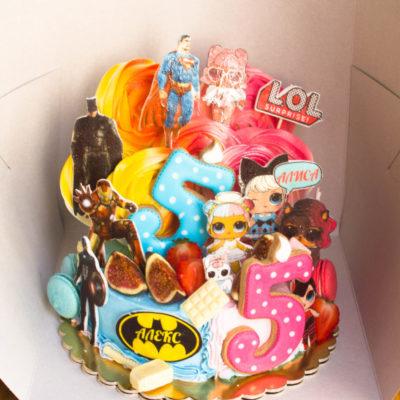Dětský narozeninový dort na zákazku Dvojčata 6 (2 kg, 1450 kč)