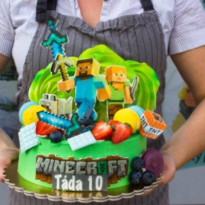 Dětský narozeninový dort Minecraft 18 (2 kg 1450 kč)