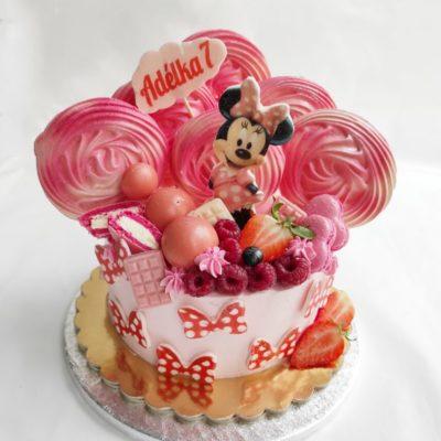 Narozeninový dort Minnie Mouse 6 (1,5 kg, 1200 kč)